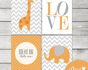 Orange and Grey Elephant and Giraffe Nursery Print - 8x10 - Instant Download - DIY Printable - Dream Big Litttle One
