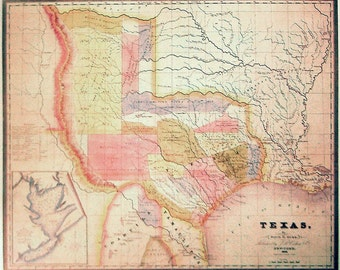 Map of Texas dated 1834 - Wall Art