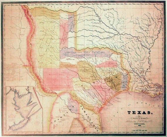 Map Of Texas Dated 1834 Wall Art