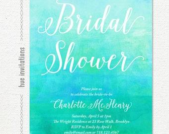 turquoise watercolor bridal shower invitation, artsy blue green bridal shower invite, geometric modern watercolor bridal shower invite, 210