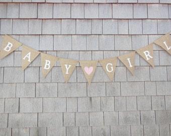 Baby Girl Burlap Banner, Baby Girl Bunting, Baby Girl Garland, Baby Shower Decor, Baby Girl Nursery Decor, Baby Shower Banner, Gender Reveal