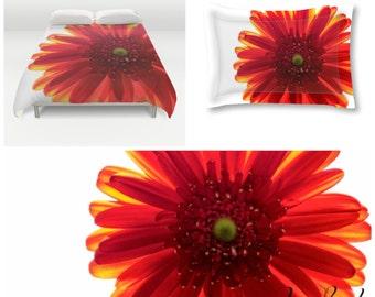 Duvet Cover Set, Red and White, Bright Colors, Duvet Cover, Pillow Shams, Queen Bedding, King Duvet, Flower Photography, Macro Images