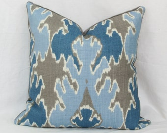 Indigo Blue Ikat throw pillow cover. 18x18 20x20 22x22 24x24 26x26 28x28 Kelly Wearstler Lee Jofa Bengal Bazaar