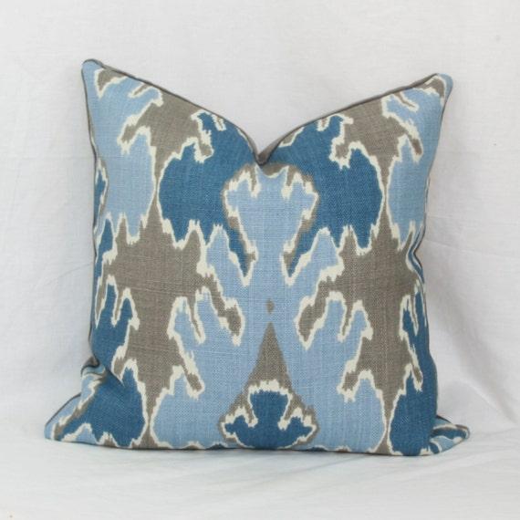 Indigo Blue Throw Pillow : Indigo Blue Ikat decorative throw pillow cover. by JoyWorkshoppe