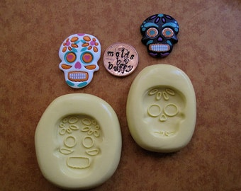 Sugar Skull Skeleton silicone flexible mold, resin mold, jewelry mold, polymer clay mold, fondant mold
