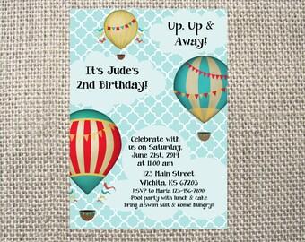 PRINTED or DIGITAL Hot Air Balloon Birthday Party Invitations 5x7 Customized Hotair Balloon Birthday Design 0.82 each