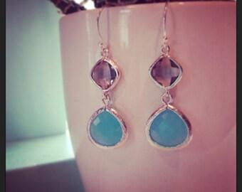 Sea foam blue earrings, faceted gems