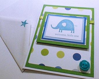 Baby Card Greeting Card Baby Boy Card Elephant Card Baby Greeting Card Handmade Card Hand stamped Card Baby Shower Card New Baby Card