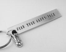 running keychain, cross-country running keyring, hand stamped aluminum keychain, gift for runner, coach gift, marathon, triathlon athlete