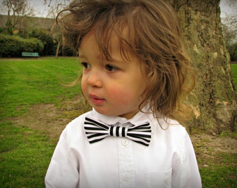 Toddler bow tie, black and white striped