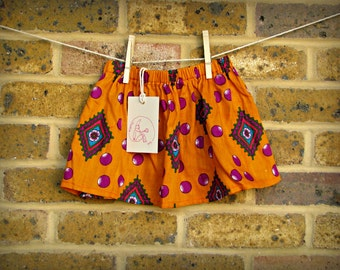 SALE! Tangerine, patterned baby and toddler skirt 18-24 monts
