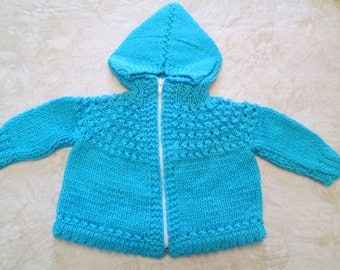 Hand Knitted Hooded Baby Sweater with Front Zipper Closure