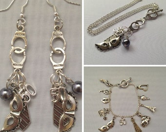 Fifty Shades of Grey Inspired Jewelry Bundle Necklace Earrings Bracelet