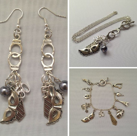 fifty shades of grey inspired jewelry bundle necklace earrings