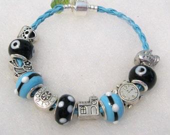 437 - CLEARANCE - Black & Aqua Beaded Bracelet
