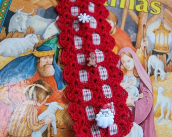Christmas Red Crocheted Bookmark or Ornament