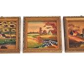 Vintage Miniature Paintings Set of Three, Made by Arnart Creation Japan