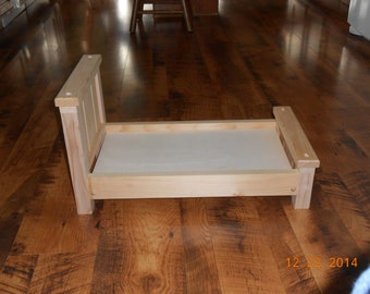 "Handcrafted Farmhouse Style 18"" Doll Bed"