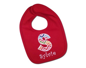 Girl's Birthday Bib with Chevron and Embroidered Name