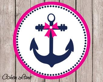 Instant Download Printable Anchor Iron On Transfer Design. Girls Nautical Iron On.  Beach Shirt. Anchor Transfer.