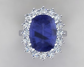 Vintage Style Sapphire Genuine Diamond Engagement Ring 18kt White Gold 8ct Long Cushion Cut Ceylon Blue Sapphire 1.76ct FSI1 Diamonds Ring