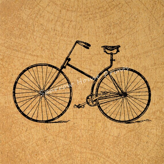 Bicycle print antique wall art bike home decor vintage print for Bicycle decorations home