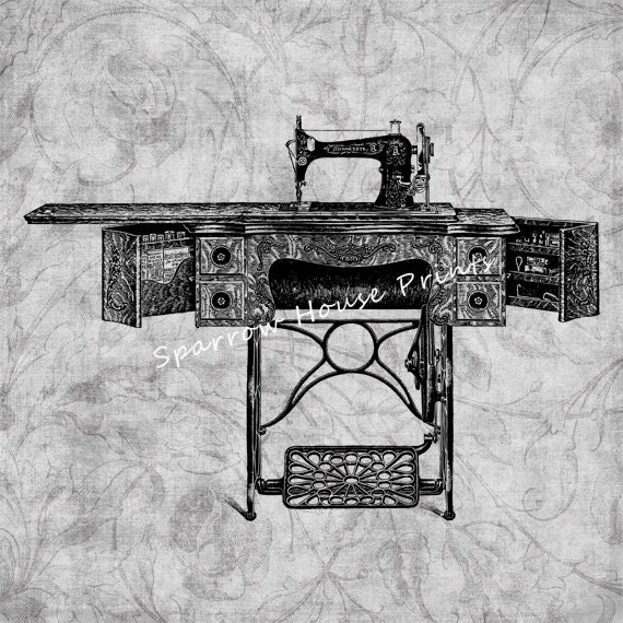 Items similar to antique sewing machine vintage print home for Best home decor sewing machine