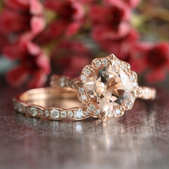 Bridal Set Vintage Floral Morganite Engagement Ring and