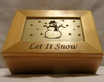 Custom Engraved Wooden Keepsake Box - Let It Snow