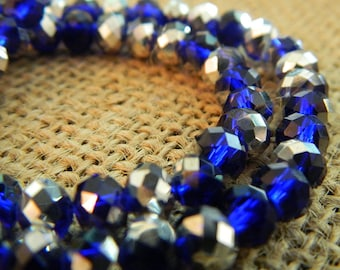 Electroplate Glass Faceted Abacus Beads - 6x4mm - 25 pcs per order