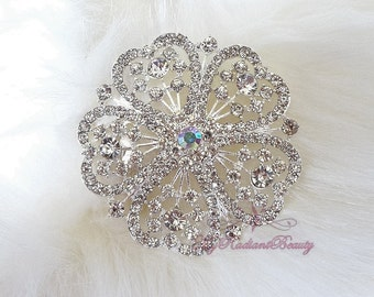 Wedding Brooch, Bridal Brooch, Large Rhinestone centered with 5 hearts shaped surrounding, Rhinestone Brooch, Crystal Brooches  BR0008