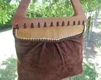 1980's vintage handmade tote. Furry velour material. Brown fabric lines the inside. In very good condition.