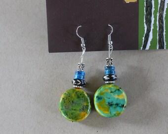 Green multicolored dangle earrings