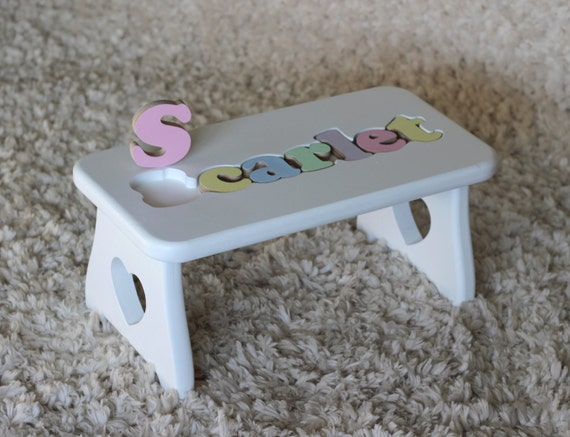 Personalized Wooden Name Puzzle Stool Heart Design By