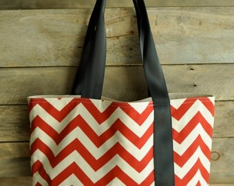 Red chevron tote bag, Large tote bag, Market bag, carry on, book bag,