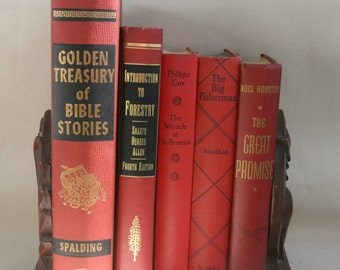 Vintage Lot Books Red Decorative Titlles Holiday Decor Decorating