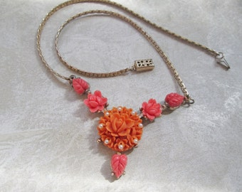 Vintage Coral Peach Rose Flowers Necklace Resin Plastic Carved Celluloid Orange Pearls