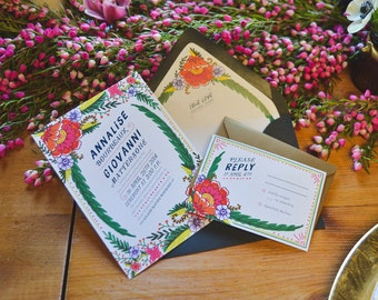 Annalise - Bohemian Floral Wedding Invitations - SAMPLE