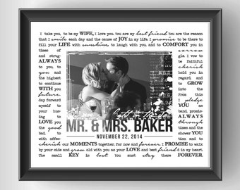 Unique wedding gift, personalized wedding gift, custom wedding vows with photo - PRINTABLE