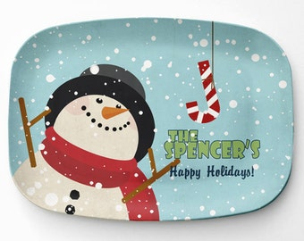 Personalized Snowman Platter, Melamine Winter Serving Platter, Melamine Platter, Personalized Christmas Serving Tray, Holiday Decor