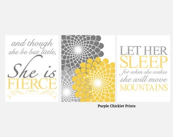 Let Her Sleep And Though She Be But Little She is Fierce Mustard Yellow Gray Flower Burst Nursery Wall Art Art for Kids Room Set 226ab