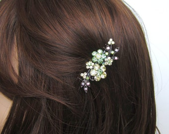 Crystal Flower And Vine Hair Accessory Jewelry Comb Clip Antique Silver Tone Wedding Bridal Bridemaid Yellow Green