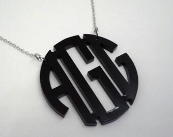 """Large 2"""" Black Acrylic Monogram Necklace"""