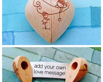 Wooden Heart with Secret Compartment and Scroll-Cloud Design