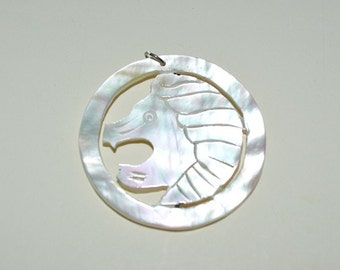 1960's Vintage Authentic Carved Mother of Pearl Left Facing Lion Charm/Pendant - 1 Piece(1060096)