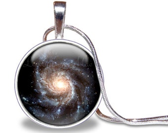 Spiral Galaxy Necklace, Galaxy Pendant, Galaxy Jewelry, Galaxy Necklace, Space Necklace, Silver Plated, Outer Space Jewelry, Nebula Necklace