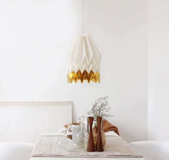 Paper Lampshade, Design Lamp, Origami Lampshade | XL Polar White with Warm Gold Stripe | FREE SHIPPING*