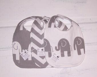 Soft Grey Elephant Baby Bib Set !  FREE SHIPPING !!!!!!!!