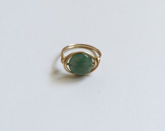 Jade Gold Wire Wrapped Ring