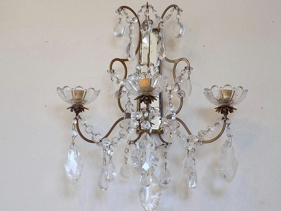 Jeweled Candle Wall Sconces : EXQUISITE Antique Macaroni Beaded Wall Sconce Candle Holder